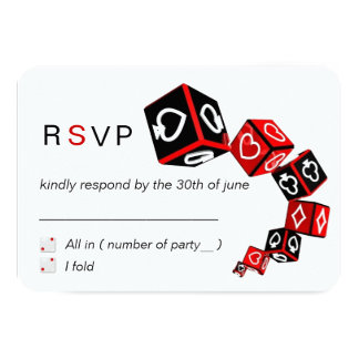 "Modern Chic Black Red White Casino Vegas RSVP 3.5"" X 5"" Invitation Card"