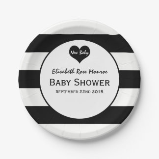Modern Chic Black & White Baby Shower 7 Inch Paper Plate
