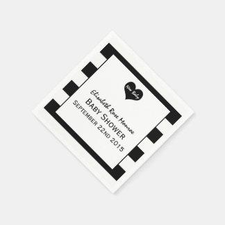 Modern Chic Black & White Baby Shower Disposable Napkin