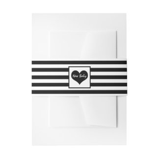 Modern Chic Black & White Baby Shower Invitation Belly Band