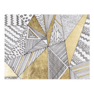 Modern chic black white faux gold geometrical postcard
