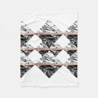 Modern Chic Black White Marble and Rose Gold Strip Fleece Blanket