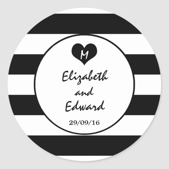 Modern Chic Black & White Wedding Classic Round Sticker