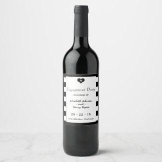 Modern Chic Black & White Wedding Engagement Wine Label