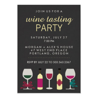 Modern Chic Black Wine Tasting Party Card