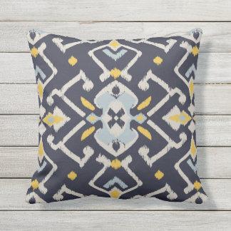 Modern chic black yellow turquoise ikat pillow
