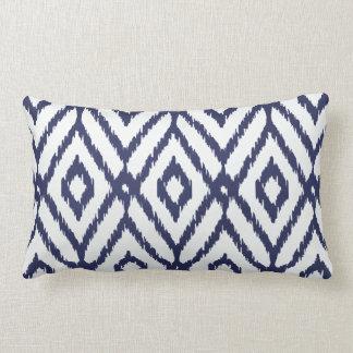 Modern chic blue and white ikat diamond pattern pillow