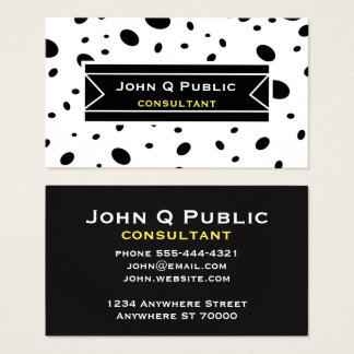 modern chic bold black dots custom double sided business card