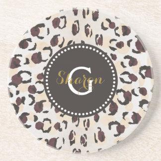 Modern chic brown cheetah print pattern monogram beverage coaster