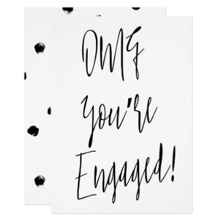 """Modern chic calligraphy """"OMG you're engaged"""" Card"""