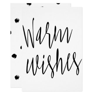 """Modern chic calligraphy """"Warm wishes"""" Card"""