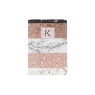 Modern chic color block rose gold marble stripes passport holder