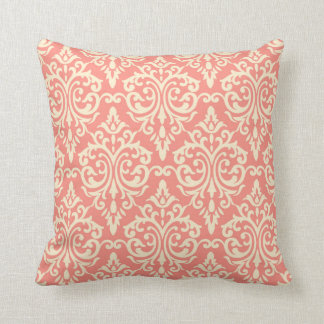 Modern chic coral damask ppattern ikat pillow