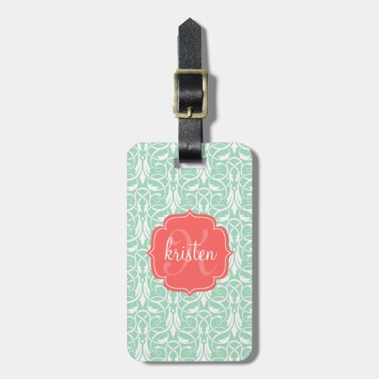 Modern Chic Coral & Mint Green Damask Personalized Luggage Tag