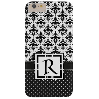 Modern Chic Damask and Polka Dots Black and White Barely There iPhone 6 Plus Case
