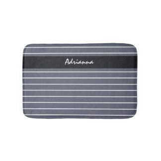Modern Chic Dark Gray Thin Stripes With Name Bath Mat