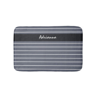 Modern Chic Dark Gray Thin Stripes With Name Bathroom Mat