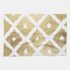 Modern chic faux gold leaf ikat pattern kitchen towel