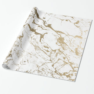 Modern chic faux gold white marble pattern