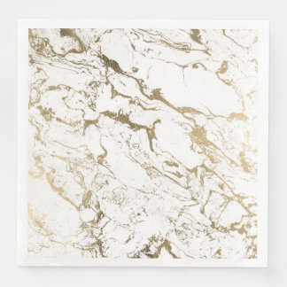 Modern chic faux gold white marble pattern paper napkins