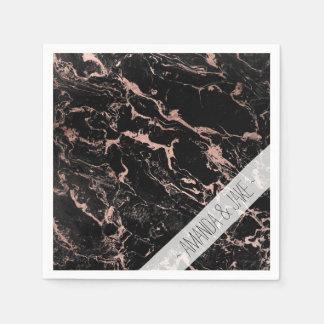 Modern chic faux rose gold foil black marble paper napkins