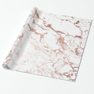 Modern chic faux rose gold white marble