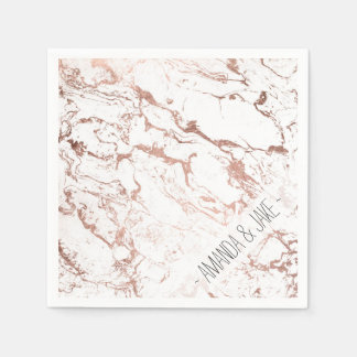 Modern chic faux rose gold white marble disposable napkins