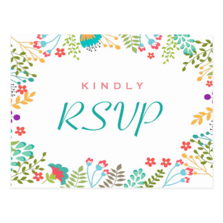 Modern Chic Floral RSVP Response Postcard