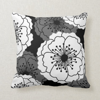 Modern Chic Flower Silhouettes | Black and White Throw Pillow