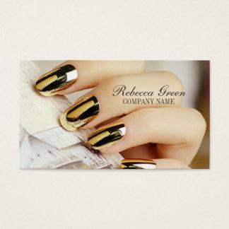 modern chic girly fashion beauty salon nail artist business card