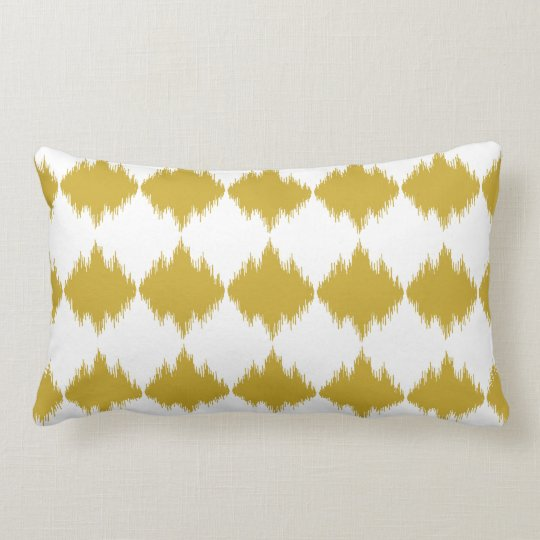 Modern chic gold and white ikat pillow