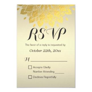 "Modern Chic Gold Floral Wedding Bridal Shower RSVP 3.5"" X 5"" Invitation Card"