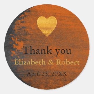 Modern Chic Gold Foil Heart Wedding Thank You Classic Round Sticker