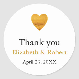 Modern Chic Gold Foil Heart Wedding Thank You Classic Round Sticker