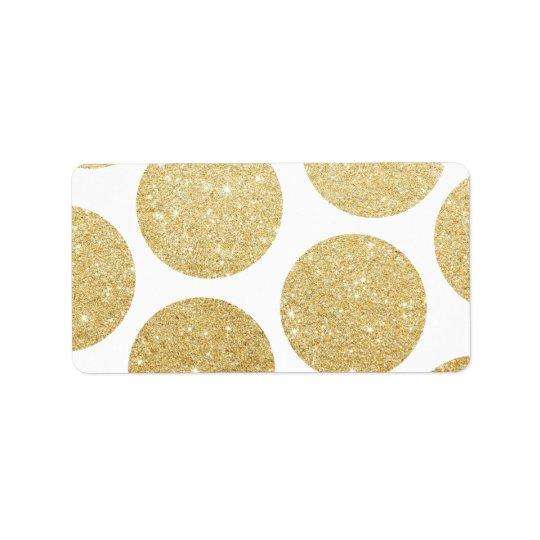 Modern chic gold glitter effect polka dots pattern label
