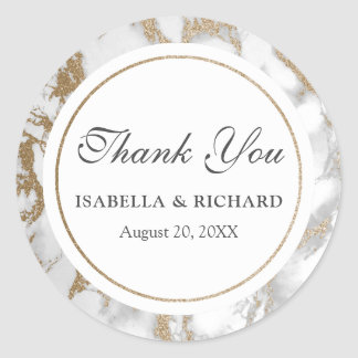 Modern Chic Gold Glitter Marble Thank You Classic Round Sticker