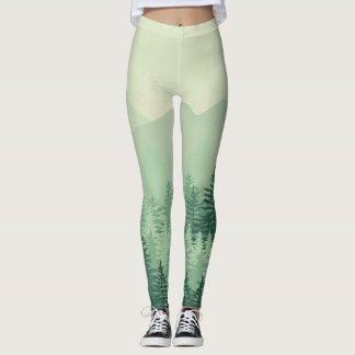 Modern Chic Green Forest Pine Womens Leggings