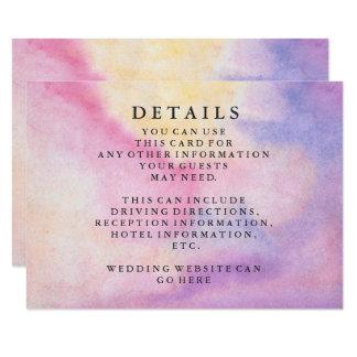 Modern Chic Green Watercolor Wedding Information Card