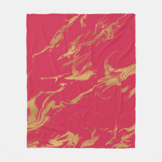 Modern Chic Hot Pink and Gold Marble Fleece Blanket