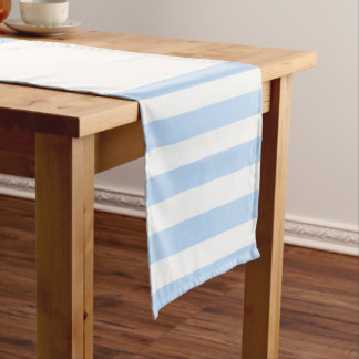 Modern chic light blue and white stripes pattern short table runner