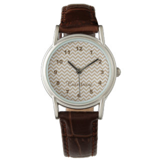 Modern Chic Light Honey Brown Chevron Monogram Watch