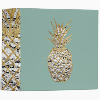 Modern Chic Marble Gold Pineapple Fruit Binder