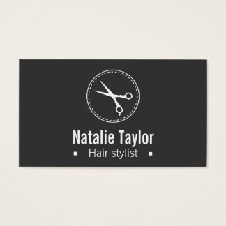 Modern, Chic, Minimalist, Black, Hair Stylist Business Card