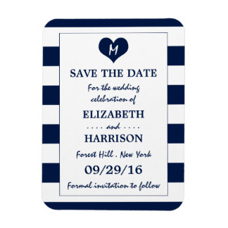 Modern Chic Navy and White Wedding Save The Date Magnet
