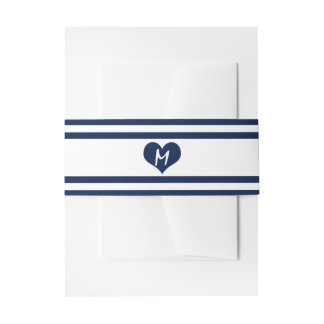 Modern Chic Navy Blue and White Wedding Invitation Belly Band