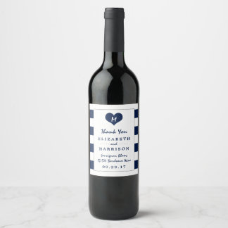 Modern Chic Navy Blue and White Wedding Wine Label