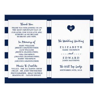 Modern Chic Navy Blue & White Wedding Program