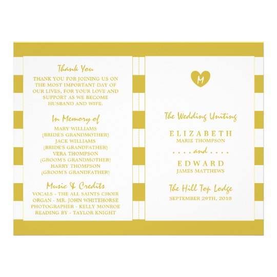 Modern Chic Old Gold Wedding Program