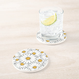 Modern Chic Ornate Daisy Floral Pattern Watercolor Beverage Coaster