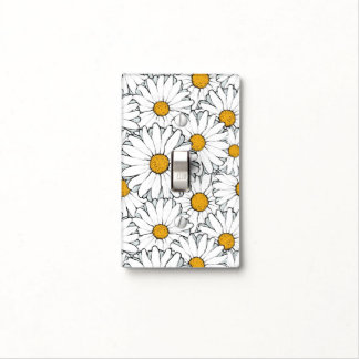 Modern Chic Ornate Daisy Floral Pattern Watercolor Light Switch Cover